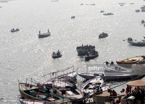 Looking upon the holy river Ganges in Varanasi, India on January 06, 2019. Thousands of widows flock to Varanasi, a holy city in the crescent-shaped...