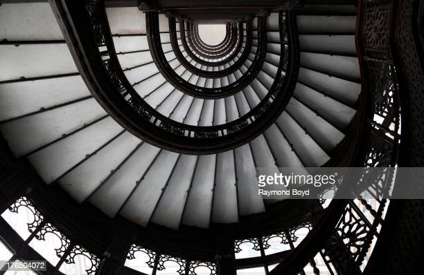 Looking upward at the Rookery Building's famed spiral staircase, in Chicago, Illinois on JULY 19, 2013.