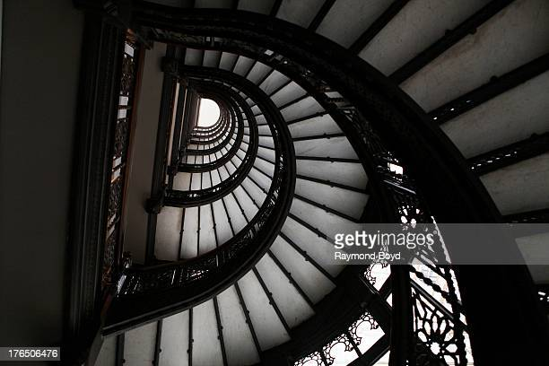Looking upward at the Rookery Building's famed spiral staircase, in Chicago, Illinois on JULY 24, 2013.