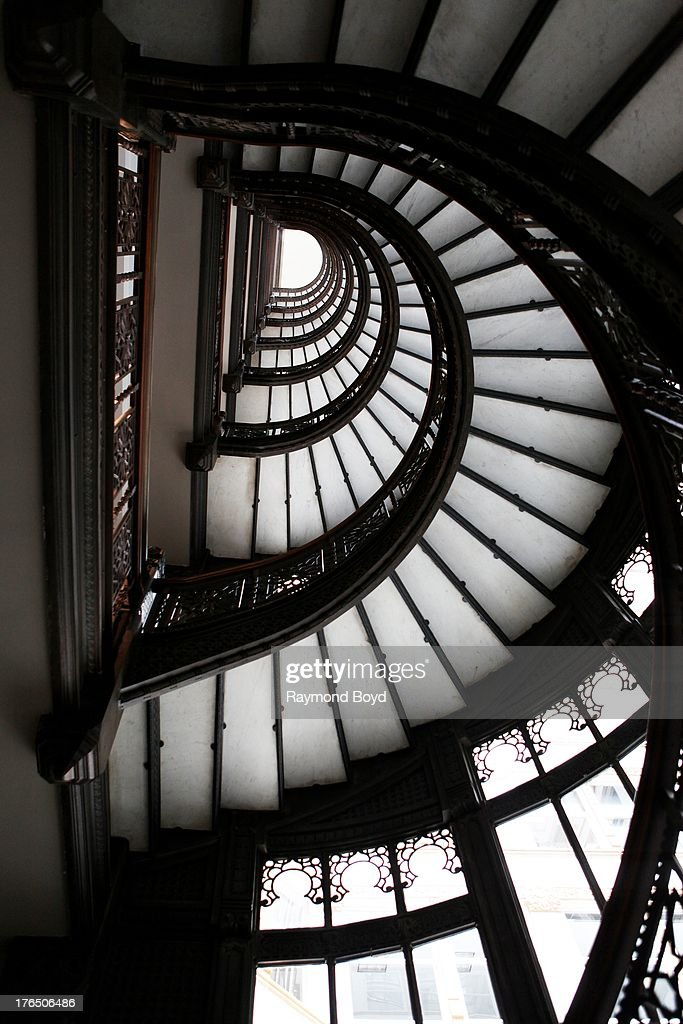 Looking Upward At The Rookery Buildingu0027s Famed Spiral Staircase In Chicago  Illinois On JULY 24 2013