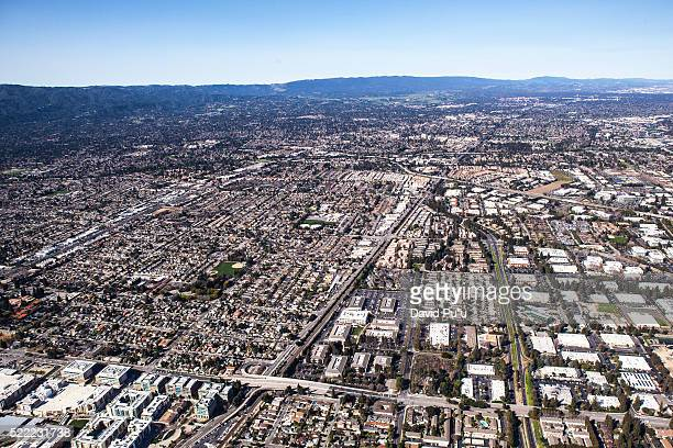 looking west in the silicone valley from mountain view, ca. - palo alto stock pictures, royalty-free photos & images