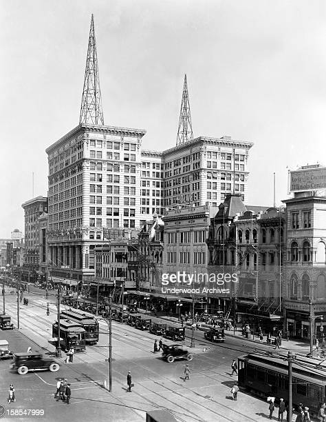 Looking west on Canal Street with the Maison Blanche Department Store and the WSMB radio station New Orleans Louisiana circa 1925