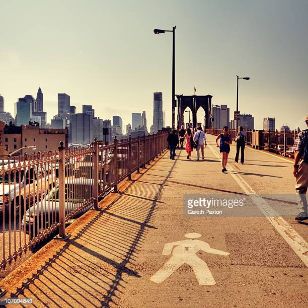 Looking west on the Brooklyn Bridge in summer 2010 from the Brooklyn end of the bridge New York City USA