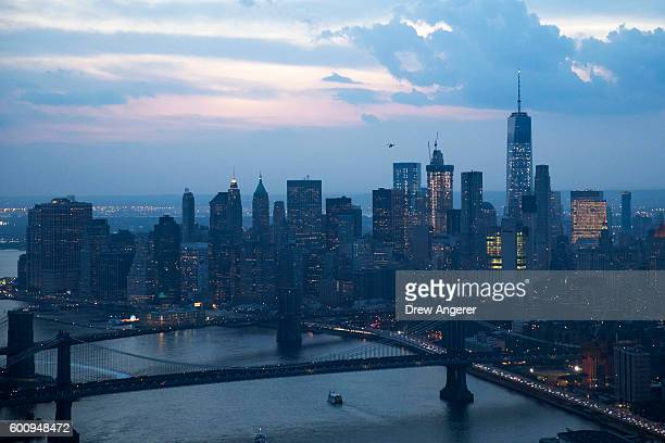 Looking west over the East River an aerial view of Lower Manhattan September 8 2016 in New York City New York City is preparing to mark the 15th...
