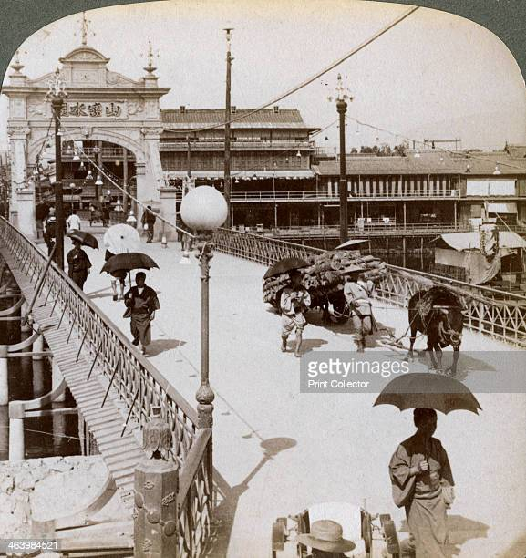 Looking west over the Kamo River at Shijo bridge Kyoto Japan 1904 Stereoscopic card Detail