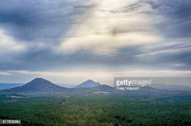 COAST QUEENSLAND AUSTRALIA Looking west toward the Glasshouse Mountains The heritagelisted national park is located 70 km north of Brisbane