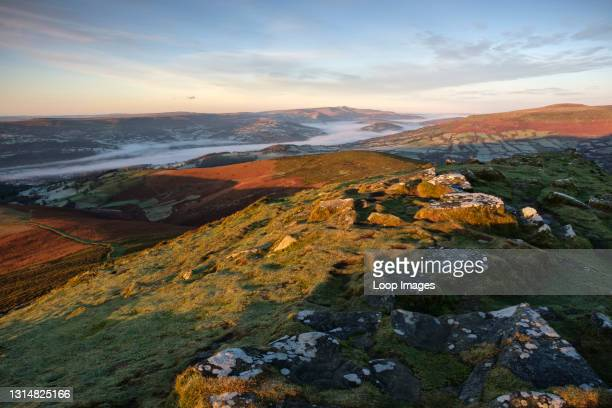 Looking west towards Pen-y-fan mountain from the top of the Sugar Loaf near Abergavenny.