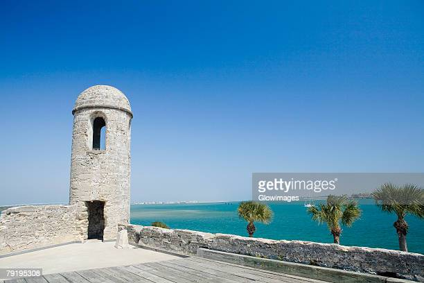 lookout tower on a castle, castillo de san marcos national monument, st.augustine, florida, usa - castillo de san marcos stock photos and pictures