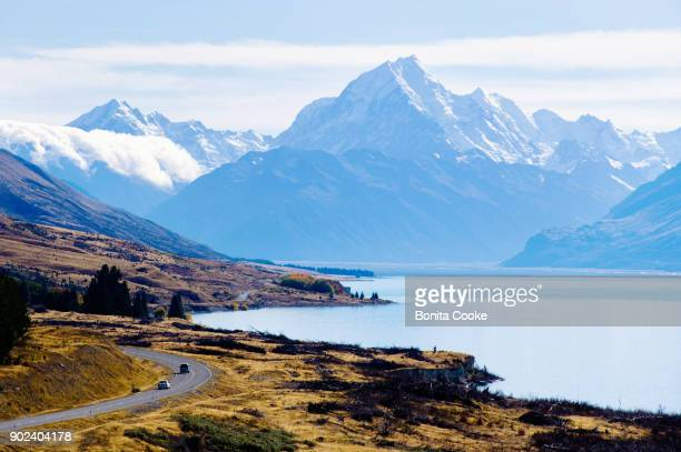 Lookout view of the road to Mount Cook, beside Lake Pukaki