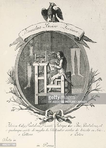 Loom for the making socks pants and gloves engraving for a poster advertising the Stanislaus Bosiso company Italy 18th century