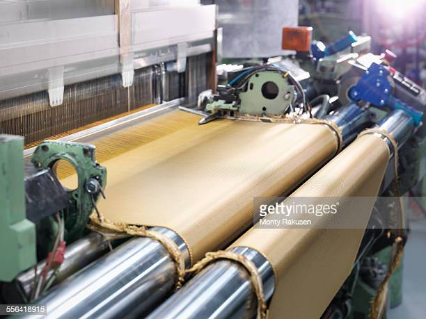 Loom weaving kevlar fabric in carbon fibre factory