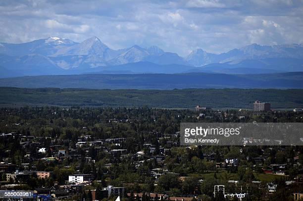 Looming mountains behind Calgary