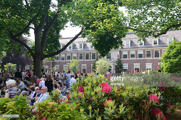 loomis chaffee school on commencement day - boarding school stock photos and pictures