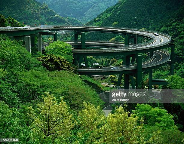 Loop Bridge Amidst Green Mountains
