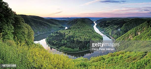 Loop of river Saar, Mettlach, Saarland, Germany