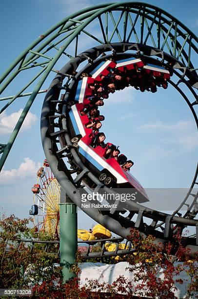 Looping Rollercoaster at Amusement Park
