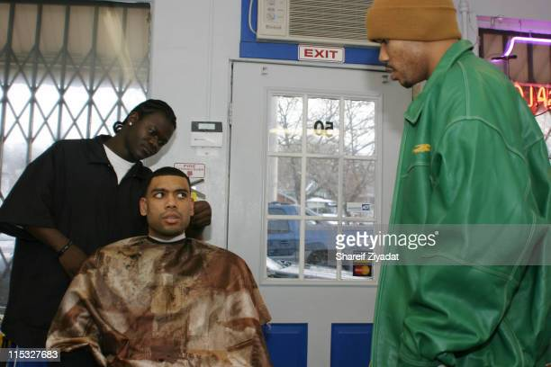Loose Change Allan Houston and Stephon Marbury during Getting Haircut at All Star Kutz in White Plains NY United States