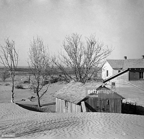 Loose soil blown by dust bowl winds piling up in large drifts on a farm Near Liberal Kansas March 1936