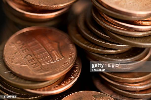 loose stacks of us pennies, full frame - us penny stock pictures, royalty-free photos & images