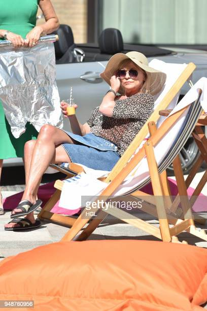 Loose Women Jane Moore and Claire King filming Loose Women at the ITV Studios on April 19 2018 in London England