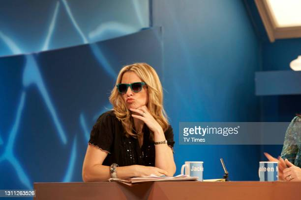 Loose Women presenter Jackie Brambles wearing sunglasses on set, on June 3, 2008.