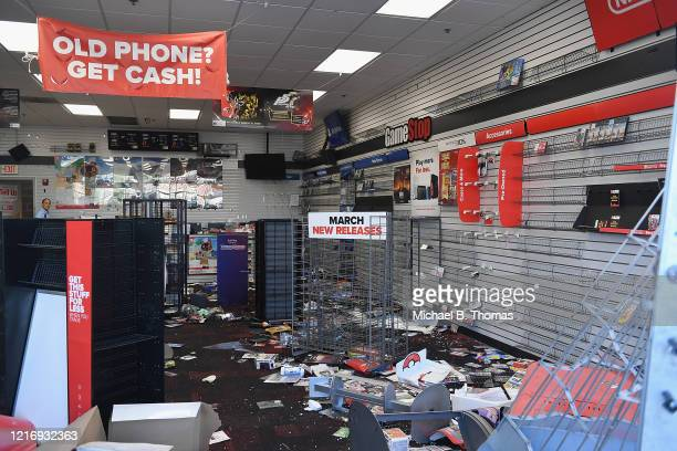 A looted GameStop store is seen following protests on June 2 2020 in St Louis Missouri Four police officers were reportedly shot in St Louis...