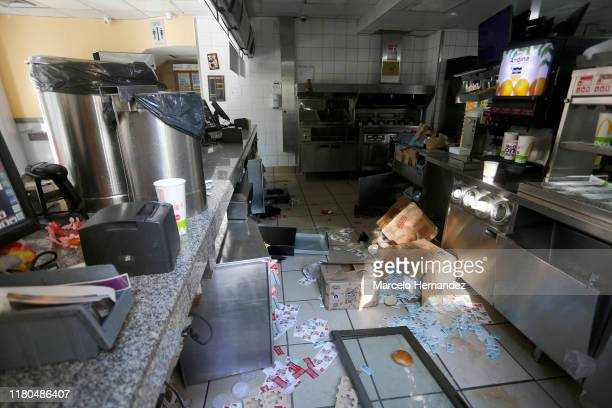 A looted Macdonald's kitchen is seen during a protest against government of Sebastian Piñera at Las Condes on November 6 2019 in Santiago Chile As a...