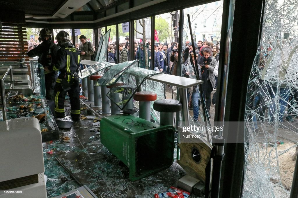 A looted McDonald's restaurant is pictured during a demonstration on the sidelines of the march for the annual May Day workers' rally, in Paris, on May 1, 2018. Police in Paris have used water cannons to break up a tumultuous rally amid May Day demonstrations as masked protesters have been throwing smoke bombs and setting vehicles on fire in the French capital.