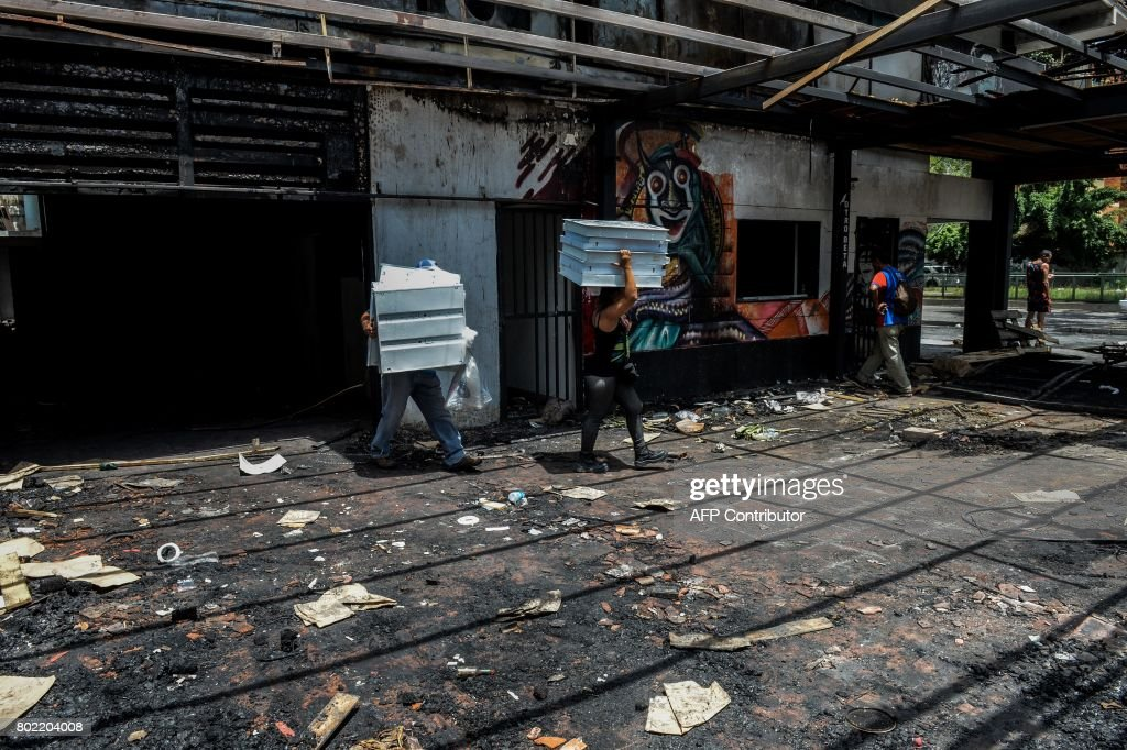 Looters carry away marchandise left in an already looted supermarket in Maracay, Aragua state, Venezuela on June 27, 2017. /