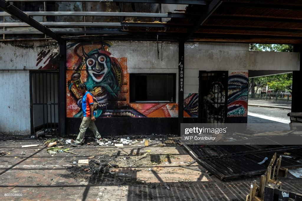 Looters look for marchandise remaining in an already looted supermarket in Maracay, Aragua state, Venezuela on June 27, 2017. /
