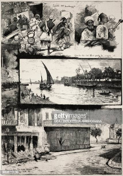 Looting episodes canal city street after the bombing of 11 July 1882 Alexandria drawings by Dante Paolocci engraving from L'IIllustrazione Italiana...