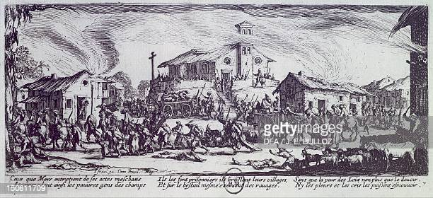 Looting of a village during the War of Monferrato by Jacques Callot etching the Miseries of War 1632 Thirty Years' War Italy 17th century