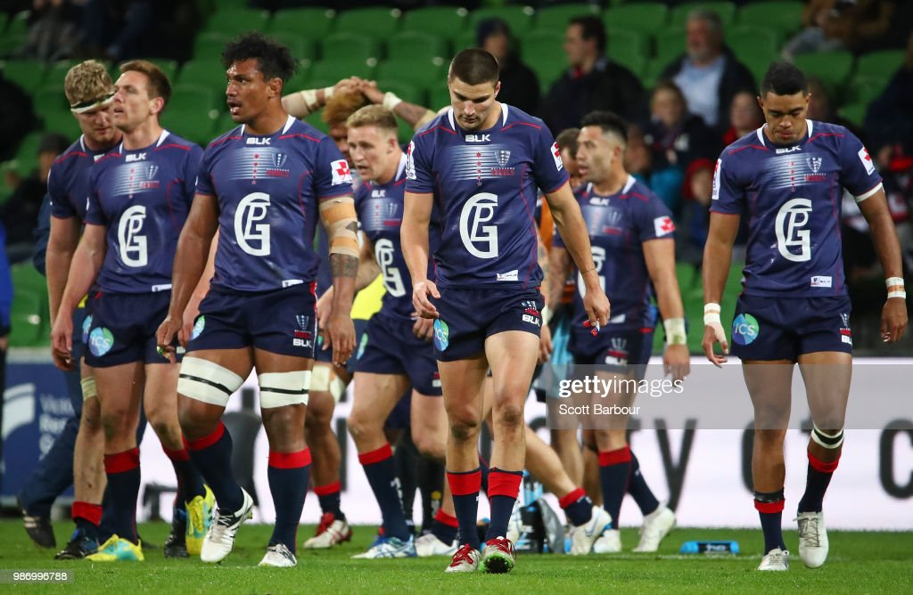 Lopeti Timani and Jack Maddocks of the Rebels dejected after a try during the round 17 Super Rugby match between the Rebels and the Waratahs at AAMI Park on June 29, 2018 in Melbourne, Australia.