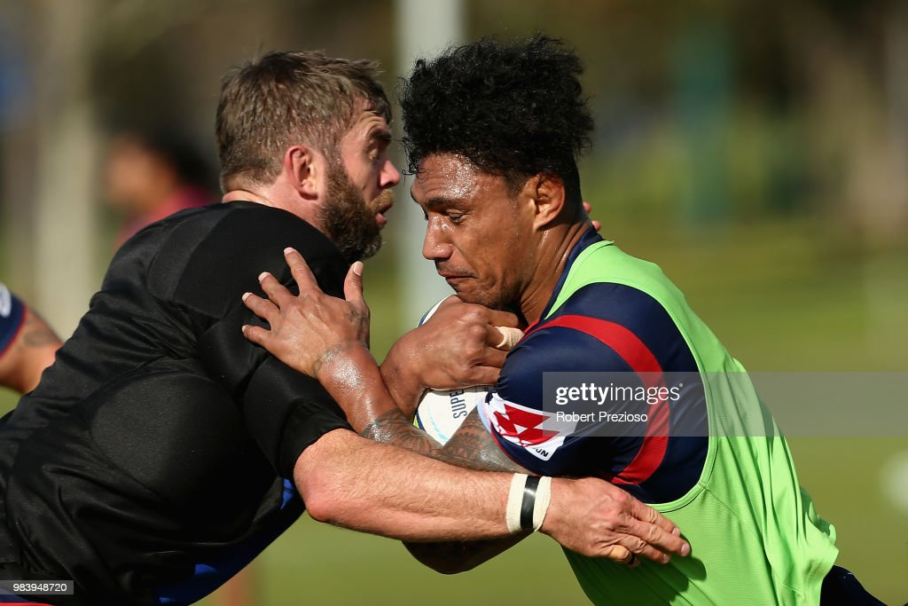 Lopeti Timani is tackled during a Melbourne Rebels Super Rugby training session at AAMI Park on June 26, 2018 in Melbourne, Australia.