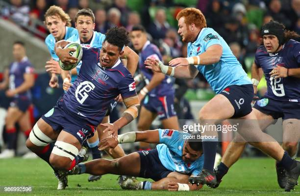 Lopeti Timani of the Rebels is tackled during the round 17 Super Rugby match between the Rebels and the Waratahs at AAMI Park on June 29 2018 in...