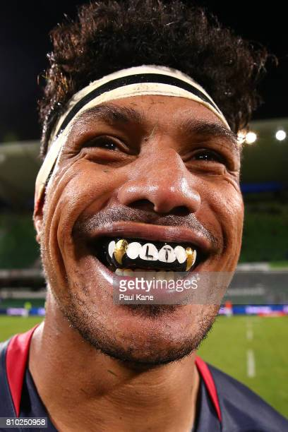 Lopeti Timani of the Rebels poses following the round 16 Super Rugby match between the Force and the Rebels at nib Stadium on July 7 2017 in Perth...
