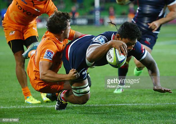 Lopeti Timani of the Rebels scores a try during the round nine Super Rugby match between the Melbourne Rebels and the Cheetahs at AAMI Park on April...