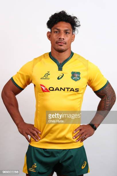 Lopeti Timani poses during the Australian Wallabies headshot session on May 7 2018 in Gold Coast Australia