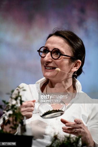 lopez French Chef AnneSophie Pic takes part in a cooking demonstration during the Omnivore festival in Paris on March 4 2018 where she received the...