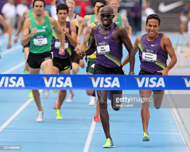 Lopez Lomong and Leonel Manzano sprint to the finish line in the Mens 1500 Meter during the 2010 USA Outdoor Track & Field Championships at Drake...