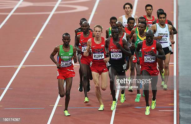 Lopez Lomong of the United States Isiah Kiplangat Koech of Kenya Galen Rupp of the United States and Mumin Gala of Djibouti compete in the Men's...