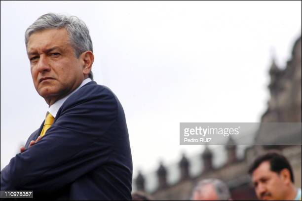 Lopez Obrador before the Democratic National Convention where over one million delegates elected him legitimate president at the Zocalo in Mexico on...