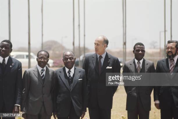 Léopold Sédar Senghor , President of Senegal, Félix Houphouet-Boigny , President of the Cote d'Ivoire, and Valéry Giscard d'Estaing , President of...