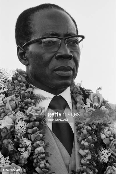Léopold Sédar Senghor, président du Sénégal, lors du sommet de l'OUA à Port-Louis le 2 juillet 1976, Ile Maurice.