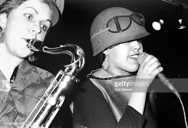 Lora Logic and Poly Styrene of punk band XRay Spex performing on stage at one of their first gigs at The Roxy London England on 11th March 1977