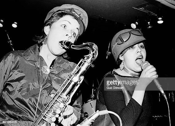 Lora Logic and Poly Styrene of punk band X-Ray Spex, performing on stage at one of their first gigs at The Roxy, London, England, on 11th March 1977.