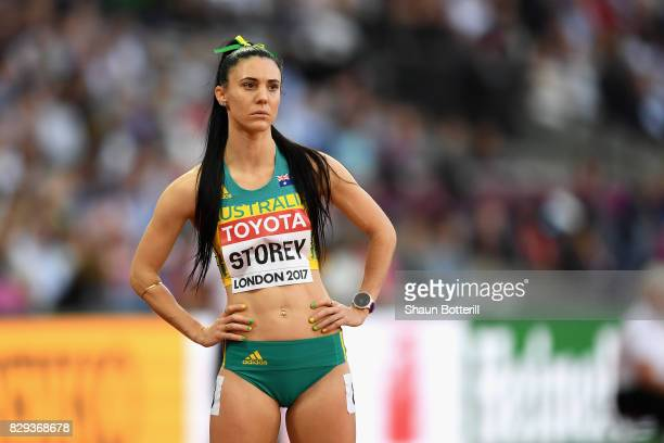 Lora Storey of Australia prior to the start of heat two of the womens 800 metres heats during day seven of the 16th IAAF World Athletics...