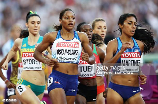 Lora Storey of Australia Shelayna OskanClarke of Great Britain and Brenda Martinez of United States compete during heat two of the womens 800 metres...