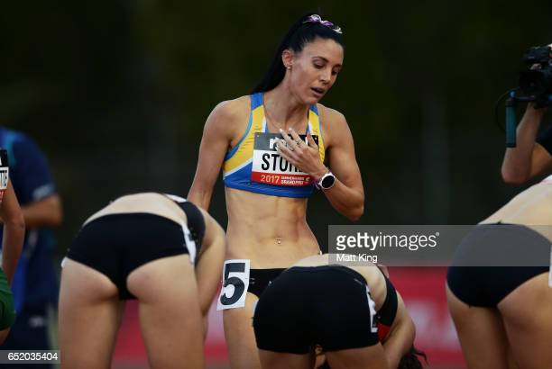 Lora Storey of NSW recovers after the Women800m A Final during the SUMMERofATHS Grand Prix on March 11 2017 in Canberra Australia
