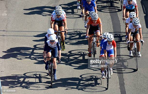 Lora Turnham of Great Britain competes in the Women's Individual B Road Race on day 10 of the London 2012 Paralympic Games at Brands Hatch on...